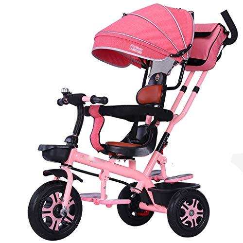 Jixi El Triciclo Ajustable del Triciclo de los niños con el Carro del Cochecito del Bolso de la Momia del toldo Conveniente for 1~6 años (Color : F)