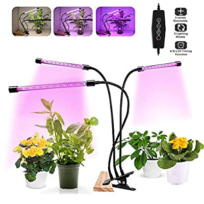 LED Grow Light for Indoor Plants,2020 Upgraded 75W Tri-Head Plant Light for Seedlings Succulents Microgreens,Timing 4H/8H/12H,3 Modes & 5 Dimmable