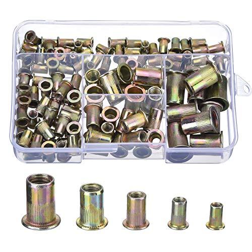 Stahl Verzinkt Blindnietmuttern Nutsert M4 M5 M6 M8 M10, 120 Stück