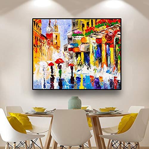 ganlanshu Arte de la Lona Pintura al óleo Hombre Caminando en la Calle Lluvia Pared Arte decoración Imagen Sala de Estar Oficina,Pintura sin Marco,60x75cm