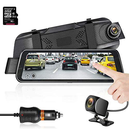 Mirror Dash Cam 9.66 HD Backup Camera, Dash Cam Front and Rear Dual Lens 1920P+1280P Full Touch Screen Video Streaming Rear View Mirror Camera with Waterproof, 32G TF Card Included