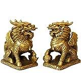 2 unids/Set Feng Shui Golden Brass Chi Lin/Kylin Wealth Prosperity Statue Decoración del hogar Atraer Riqueza y Buena Suerte (Color : A, Size : 6.5X3.5X6.8 CM)