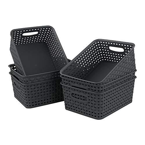 Dehouse confezione da 6 cestini portaoggetti in plastica grigia, cestino intrecciato