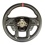 Black Side Perforated Leather Red Marker Steering Wheel Protector...