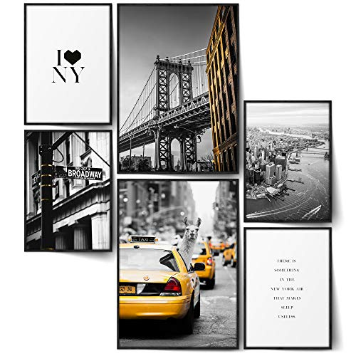 BLCKART Infinity New York City Poster Bilder Set Manhattan Stilvolle Poster Wohnzimmer Bilder Lama Taxi Freiheitsstatue Brooklyn Bridge (L | 2X A3 | 4X A4 | Ohne Rahmen, New York City LAMA)