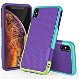 TILL for iPhone Xs Max Case, TILL(TM) Ultra Slim 3 Color Hybrid Impact Anti-Slip Shockproof Soft TPU Hard PC Bumper Extra Front Raised Lip Case Cover for Apple iPhone Xs Max [Purple]