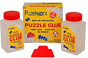 PuzzleWorx Easy-On Applicator Puzzle Glue, Pack of 2, Non Toxic Clear Glue for 1000 Piece Puzzles 4.2 oz Each Bottle (Total 8.4) by Puzzleworx