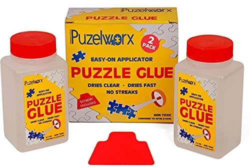 Playmags Colla Puzzle per applicatore Easy-On PuzzleWorx, Confezione da 2, Colla Trasparente Non tossica per Puzzle da 1000 Pezzi 4,2 Once Ogni Bottiglia (Totale 8,4)