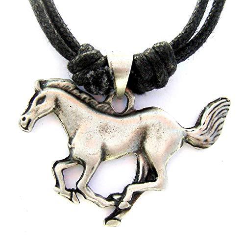 Zinn Running Horse Anhänger auf Schnur Halskette, Pferd, Equine Geschenk
