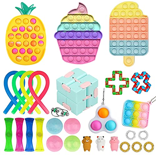 Guccou Cheap Fidget Packs Anti-Anxiety Tools for Kids, Pop Bubbles Cheap Fidget Sensory Toy Pack with Luminescent Sticky Balls Simples and Dimples Fidget Blocks Set (Fidget Pack #D)