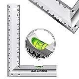 GALAX PRO 150 mm Reglas de Acero Inoxidable , 90° de Precisión con Nivel de Burbuja, Mango de Aleación de Aluminio, para Ingeniería, Medición, Dibujo - S0403