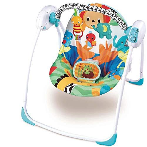 Dondolo Per Neonati Elettrico Fitch Baby Musicale Dondolino Altalena Automatica 3 Velocità con Timer regolazione volume 8 melodie schienale regolabile e Arco con Giochi pendenti (Azzurro)