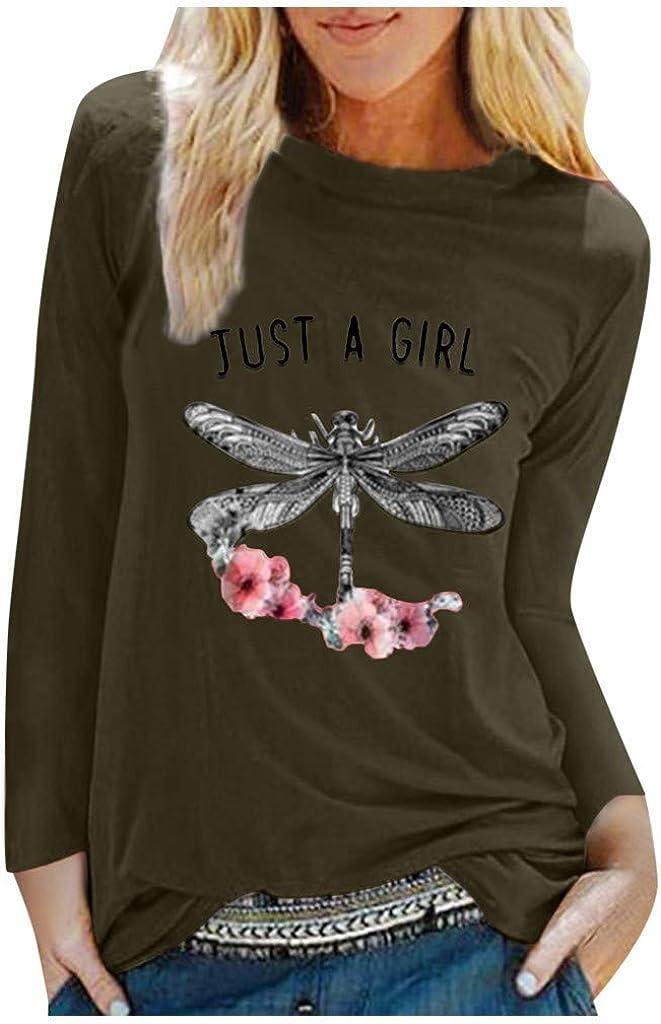 Womens Long Sleeve Tops,Womens Dragonfly Print Sweatshirts Crewneck Long Sleeve Casual Tops Slim Blouse Shirts
