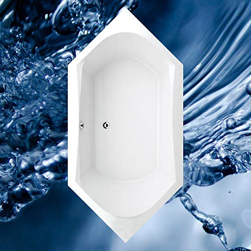 Badewanne 2000x1000 mm / 200x100 cm NORMA - Acryl 6-Eckbadewanne