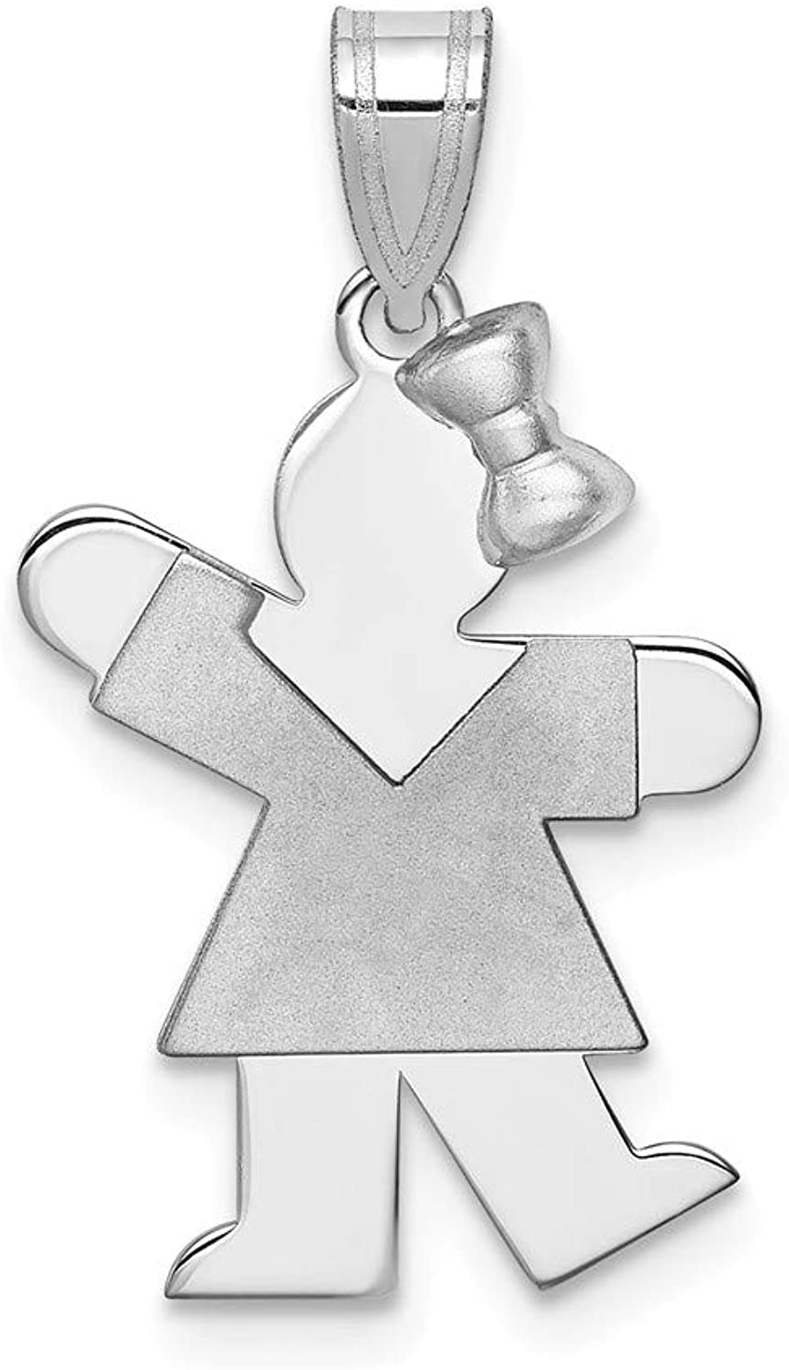 14k White gold Small Girl w Bow on Right Engravable Charm