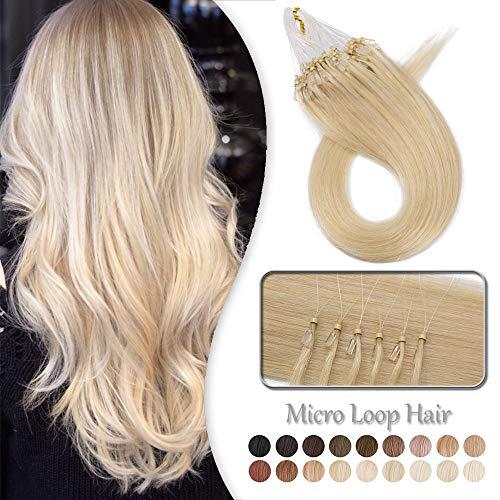 Extensiones de Cabello Naturel Queratine Loop Pelo Humano Anneau Micro Ring Bread [0.5g*100 Unidas] 50g -100% Remy Human Hair - 22