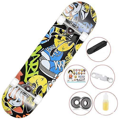 EODPOT Principiante Longboard, Monopatín 31X 8in Skateboards,9 Capa Madera Arce Canadiense Trucos Adultas del Tablero del Patín para El Principiante Regalos Cumpleaños para Niños Y Niñas Anime