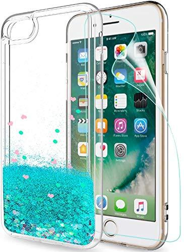 LeYi per Cover iPhone SE 2020, Cover iPhone 7/8 Glitter Custodiacon HD Pellicola,Brillantini Silicone Gel Liquido Sabbie Mobili Bumper TPU Case per Custodie Apple iPhone SE 2020 Donna Turquoise