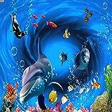 Fondo De Pantalla 3D Mundo Submarino Delfín Peces Tropicales Fondo De Tv Fondo De Pantalla De La Habitación De Los Niños Acuario Del Dormitorio Fondo De Pantalla,350 * 256Cm