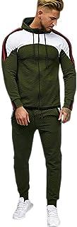 waitFOR Men Winter Color Stitching Hoodies Tracksuit,Teen Boys Hooded Long Sleeve Coat+Elastic Waist Trousers 2PCS Sportsw...