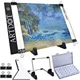 ARTDOT A4 Mesa de Luz Dibujo light board Ajustable Soporte LED Tableta de Luz Dibujo con Cable USB para 5D Diamante Pintura, Artesanía, Bocetos, Animacion, Tatoo Dibuja