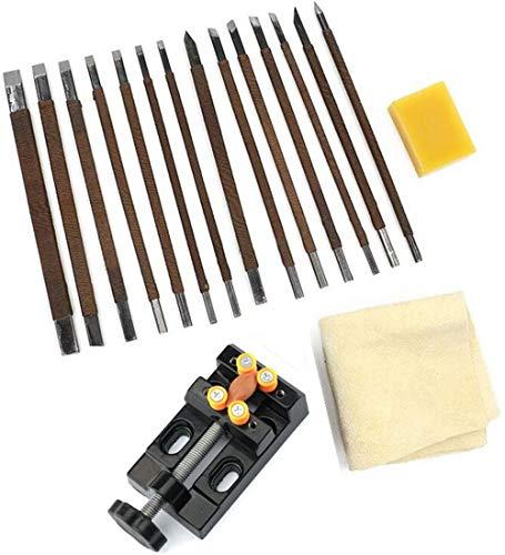 18-teiliges Meißel-Set, Mangan-Stahl, Gravur-Schneider, Schnitz-Stein-Siegel, Dichtungswerkzeuge mit Bienenwachs-Klemmen-Maschine
