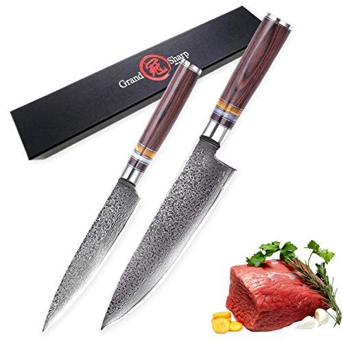 Juego de cuchillos Damasco 2 PCS Chef Cuchillos de cocina Japonesa Damasco VG10 Cocinero de acero inoxidable Utilidad Accesorios de cocina Gadgets Nuevo cuchillo para cocinar juego de cuchillos de cuc