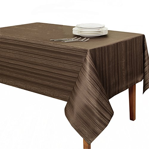 "Benson Mills Flow ""Spillproof"" Fabric Tablecloth, 60X84 Inch, Chocolate"