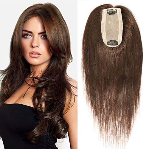 TESS Haarteil Echthaar Pony Extensions Clip in Toupee Haarverlängerung Lace Front Closure Toupet für Frauen 12