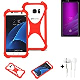 K-S-Trade® Handyhülle + Kopfhörer Für Allview Soul X6 Xtreme Schutzhülle Bumper Silikon Schutz Hülle Cover Case Silikoncase Silikonbumper TPU Softcase Smartphone, Rot (1x),