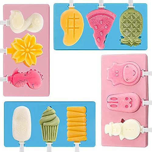 MOPOIN Moldes Helados Silicona, 2 Piezas Molde de Helados Sin BPA Molde Silicona Helado con Palos, para Niños y Adultos Molde para Congelar Yogur Frutas o Postre (Azul y Rosa)