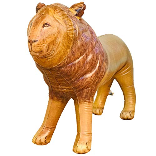 Jet Creations Inflatable Male Lion with Mane Stuffed Animal, Standing – Ideal for Safari or Wildlife Theme Parties, Favors, and Decorations, Size 36 inch Long, an-Lion