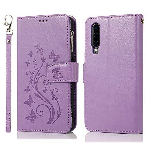 Nadoli Hülle Reißverschluss für Huawei P30,Retro Brieftasche Handytasche Pu Leder Schutzhülle mit Stand Kartenhalter Schutz Klappbörse mit Blumen Schmetterling Entwurf