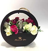 JDCMYK Portable Round Window soap Gift Flower Box Florist Packing Box Wedding Party Decoration Souvenirs (Black)
