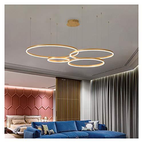 Regulable lámpara de techo LED moderno LED iluminación anillos cepillados montado en el techo Iluminación Lámpara colgante de oro y color de café Moderna ( Body Color : White , Emitting Color : Cool )