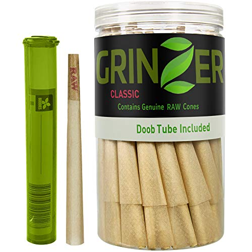 RAW Cones Natural Pre Rolled Classic - 100 Pack - King Size Rolling Papers with Filter Tips & Packing Sticks Included + Doob Tube – 110mm Easy to Fill Paper, Slow Burning - by Grinzer