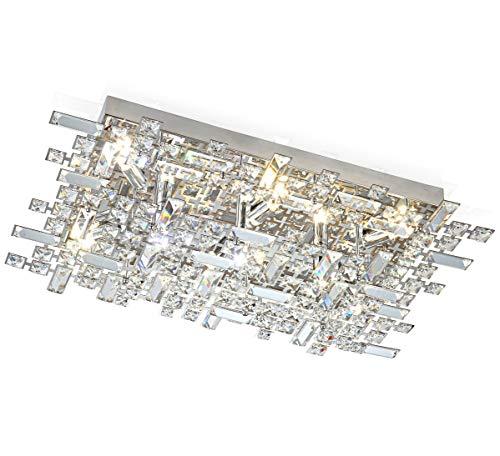 Led XL design plafoniera lampada cristallo lampadario luce soggiorno sala pranzo soffitto bagno candeliere 62x40cm inc. 9x 3W led lampadini