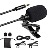 lavalier microphone,mini microphone,3.5mm Lapel Microphone, KOOPAO Omnidirectional Condenser Lavalier Mic with...