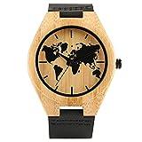 Reloj de madera, hecho a mano de bambú de cuarzo mapa del mundo diseño de moda reloj de cuero, reloj de pulsera de bambú - dgsdrhs
