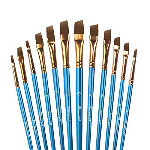 LAKIND 12 Pinceles, Pinceles Acrilico, Brochas Pintura, Pinceles Planos De Artista De Nylon para acuarela pintura acrílica u oleo (12 pinceles Oblicuo)