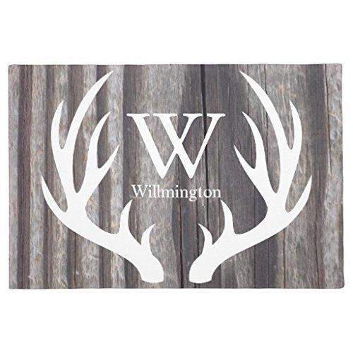 GTdgstdscRubber Fußmatte für den Außenbereich, weißes Hirsch, verwittertes Holz, personalisierbar, 40,6 x 61 cm