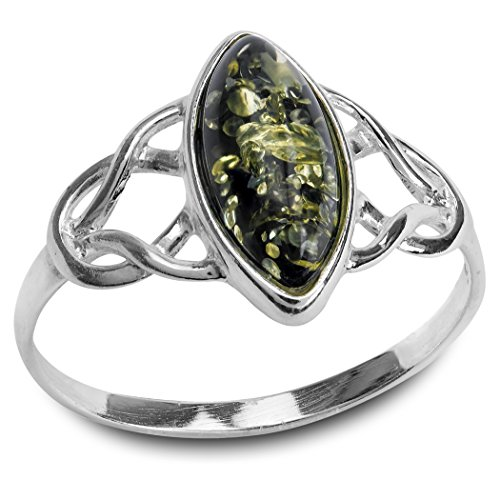 Green Amber Sterling Silver Celtic Trinity Knot Ring