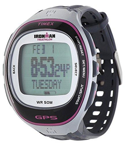 Timex T 5K630 F7 Ironman Run Trainer GPS -Uhr mit HRM - Silber/Pink ~ Elite
