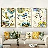 ganlanshu Lienzo Pintura pájaro Flor Pared Arte Hermosa impresión Moderna cabecera decoración del hogar,Pintura sin Marco,50X75cmx3