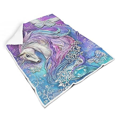 WOSITON Unicornio ligero incoloro borrosa manta cama para cama mano de obra cuidadosa para niños o adultos estilo familiar blanco 60 x 80 pulgadas
