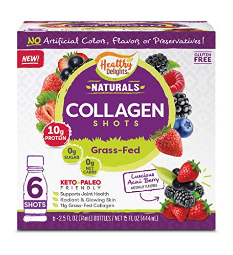 Delights Grass-Fed Collagen, Luscious Acai Berry, 6 Shots, Total...