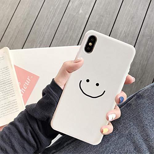 ZXMDP Fashion Simple Smile Face Couple Case para iPhone 11 Pro XS MAX XR X 7 6 12 8 Plus Funda Suave de Silicona Blanca Negra para teléfono, Estilo 2, para iPhone 7 Plus