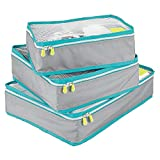 mDesign Juego de 3 cajas de almacenamiento con cremallera – Bolsas de tela o bolsas de viaje para maletas o bolsos – Cestas de poliéster transpirable con malla – gris, turquesa y blanco