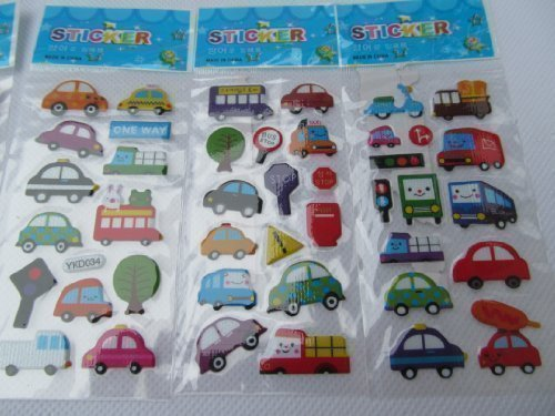 Fat-catz-copy-catz 5x small sheets of cars, bus, traffic, lorry, vans automobile Stickers for kids boys, craft, scrap books, card making, gift party bags