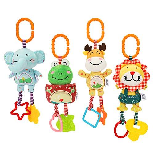 TUMAMA 4 Pack Baby Handbells Rattles Soft Plush Development Toys for Newborn Infant Birthday Present,Christmas Gifts